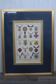 Heraldiek - Handingekleurde ere tekens - Frankrijk 19e eeuw
