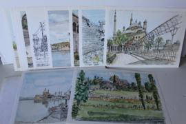 Architect Willem (Wim) Wissing - Een bundel van 12 tekeningen en aquarellen uitgeven ter herinnering aan pensioen in 1985