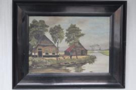 "Schilderij - H. Plettenburg ""Wintermorgen"" ca 1940"