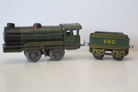 Blikken trein - Hornby Locomotief met tender 490