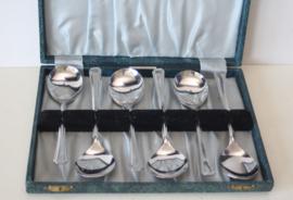 Set van 6 soeplepels in origineel foedraal