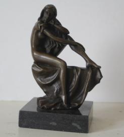 Zitten dame - Bronzen sculptuur - J.B. Deposee Milo
