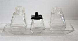 Art Deco glazen peper en zout stel met mosterdpotje