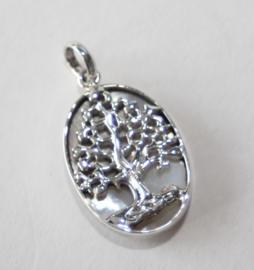 Zilveren hanger met levensboom en parelmoer