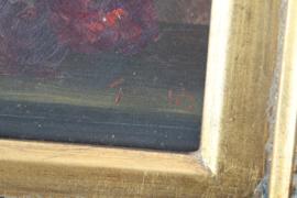 Schilderij van boeket bolchrysanten - Onduidelijk gesigneerd