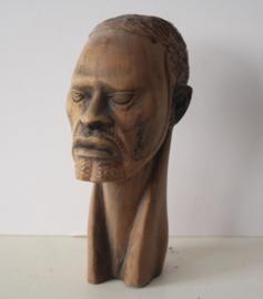 Teak houten handgesneden buste van een Afrikaanse man