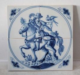 Tegeltableau bestaande uit 4 tegels met een valkenier te paard
