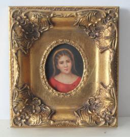 J.W. - Portret - olieverf op paneel in klassieke barok lijst