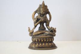 Verguld bronzen zittende Boeddha - Nepal - ca 1950