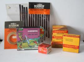 Collectie 8 mm filmtoebehoren - oa kodak chrome filmpjes, Wile E Coyote film en special effect strookjes
