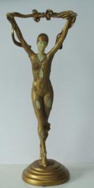 Prachtig Frans beeld in Art Deco stijl van een sierlijke danseres (Nr. 2)