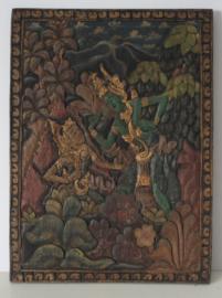 Houten handgesneden plaque met de smaragd groene / emerald boeddha (Phra Kaeo Morakot)