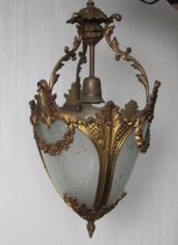 Bronzen hallamp met guirlandes en geslepen glas - Frankrijk - ca 1910
