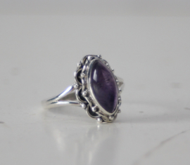 ZIlveren dames ring met amethist, maat 56(18 MM)
