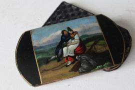 Antieke Italiaanse brillenkoker - Handbeschilderd ca 1840