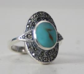 ZIlveren dames ring met markasiet en turkoois, maat 54(17mm)