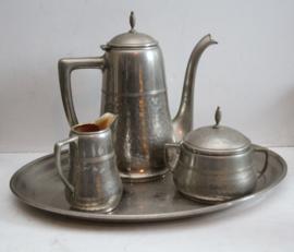 WMF - Art Deco tinnen thee/koffieset
