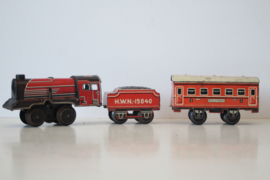 Blikken speelgoed - HWN US Zone Germany  - H0 spoor - locomotief, tender en wagon