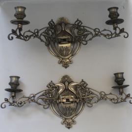 Set van 2 Art Nouveau piano- of wandkandelaars