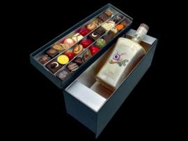 Luxus-Geschenkbox mit 39 handgefertigten Schokoladendiamanten und einer Auswahl an ChocolaDNA-Whisky oder Gin Ihrer Wahl (Preis ist Startpreis)