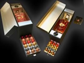 Luxe spirits & chocolade cadeaudoos met 39 handgemaakte chocolade diamanten en een fles drank naar keuze