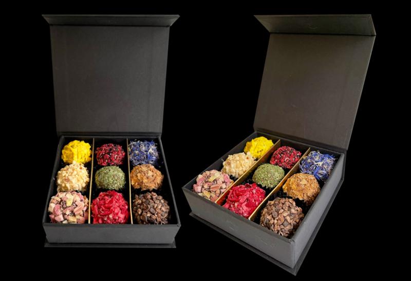 Setje van 2 luxe cadeaudoosjes (2 x 9 truffels)