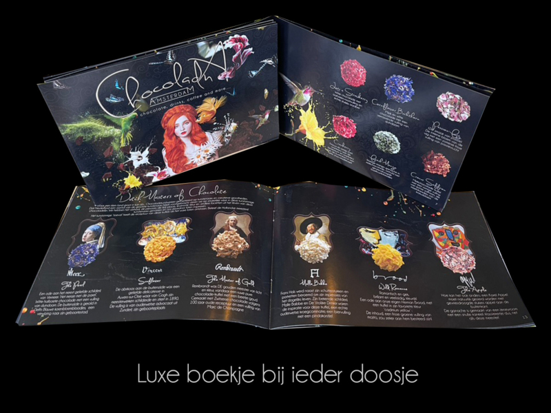 Grote luxe cadeaubox luxe handgemaakte chocolade truffels (36 truffels)