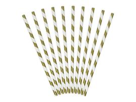 Papieren Rietjes Stripes goud