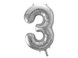 Cijfer XL Folieballon 3 - Zilver