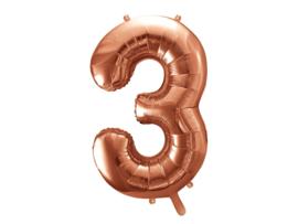 Cijfer XL Folieballon 3 - Rosé