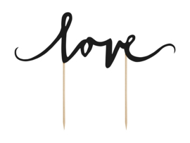 Cake Topper - Love Zwart