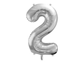 Cijfer XL Folieballon 2 - Zilver