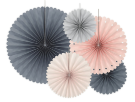 Papieren waaiers roze/grijs
