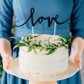 Cake Topper - Love Zwart