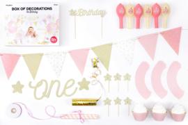 Partybox eerste verjaardag Roze - Goud