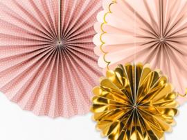 Papieren waaiers roze-goud
