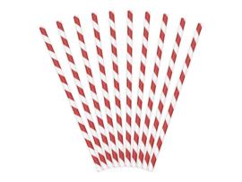 Papieren Rietjes Stripes Rood
