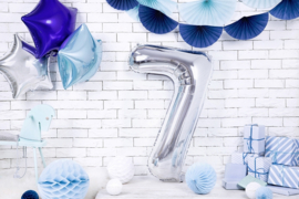 Cijfer XL Folieballon 7 - Zilver