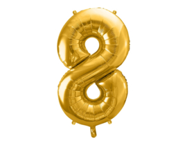 Cijfer XL Folieballon 8 - Goud