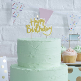 Kaarsje Happy Birthday Gold