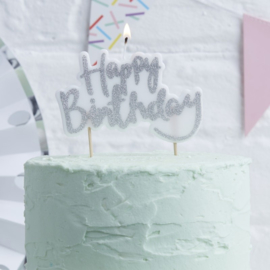 Kaarsje Happy Birthday Zilver
