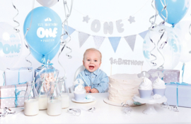 Partybox eerste verjaardag Blauw - Zilver