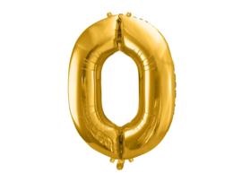 Cijfer XL Folieballon 0 - Goud
