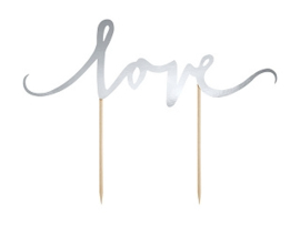 Cake Topper Love Zilver