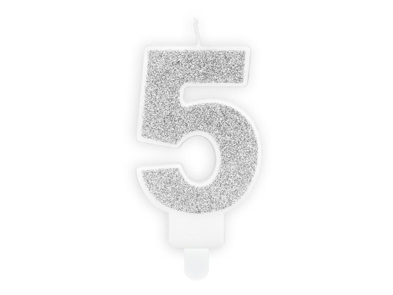 Kaarsje 5 Zilver
