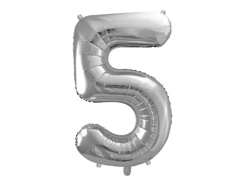 Cijfer XL Folieballon 5 - Zilver