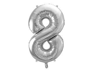 Cijfer XL Folieballon 8 - Zilver