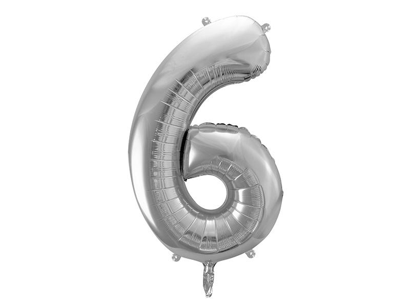 Cijfer XL Folieballon 6 - Zilver