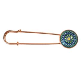 Vestspeld rosegoud mandala blauw groen - TSH00344