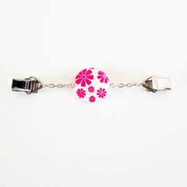 Vestsluiting wit met roze bloemetjes  - TSH00268